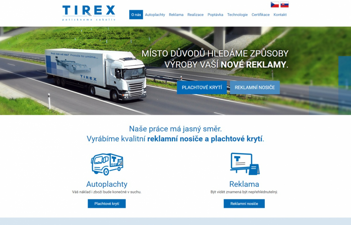 TIREX AUTOPLACHTY s.r.o.  - Homepage
